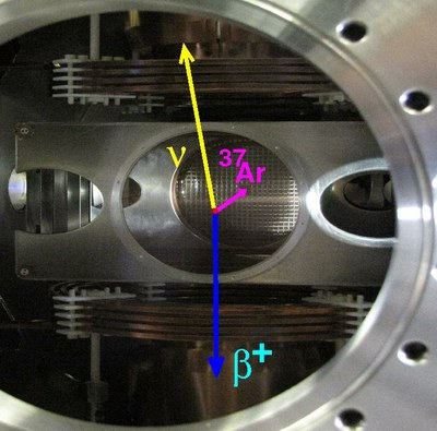 The 20x20cm heart of TRINAT: Betas and nuclear recoils are detected from atoms trapped in the center.